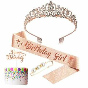 6 Pieces Birthday AccessoriesInclude Tiara Crown Crystal with Comb Rose Gold