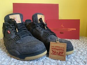 Air Jordan 4 x Levi Black Used In Great Shape. With Box Hang Tag And Card.