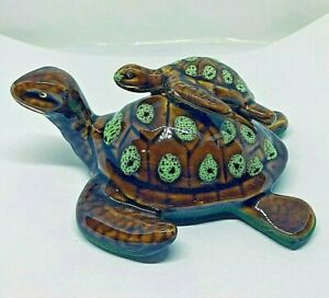 Ceramic Sea Turtles Mother and Baby Figurine Golden Pond Collection $19.95