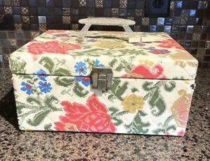 Vintage Plastic Quilted Sewing Box Lucite Handle amp; Latch Floral Bogene Product $20.99