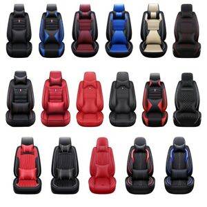 Car Seat Cover 5D PU Leather Front Rear Full Set Universal for 5 Seats Cars $85.78