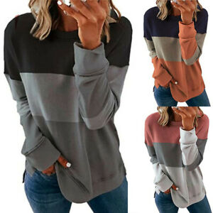 Womens Long Sleeve Color block T Shirt Blouse Loose Pullover Tunic Tops Tee