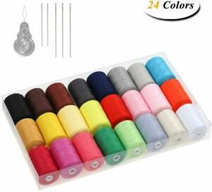 Sewing Thread Sets 24 Color Spools Thread Mixed Cotton 1000 Yards Sewing Kits $16.99