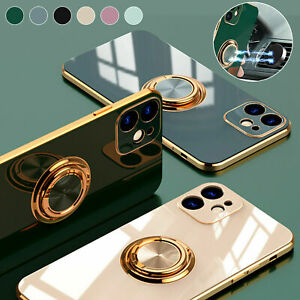 For iPhone 13 12 11 Pro Max XS XR 7 8 Magnetic Ring Stand Plating Case Cover $7.49