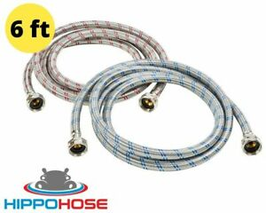 6ft Washing Machine Supply Hose Stainless Steel Braided Premium Hippohose 2 Pack $22.47