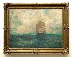 Carlton T Chapman quot;Bound to Shanghaiquot; 1924 Large Oil 30x40 Ship at Sea $1995.00