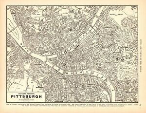 1939 Antique PITTSBURGH Pennsylvania Street Map City Map of Pittsburgh 9291 $17.95