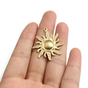10Pcs Raw Brass Sun Sunny Charms Pendants DIY Jewelry Earring Necklace Findings $4.69