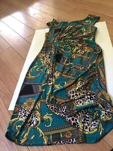 connected apparel green dress sleeveless size 10 with gold pattern $22.00