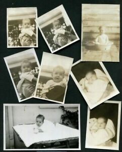 LOT of 8 ANTIQUE PHOTOS SNAPSHOTS of DARLING BABIES ONE in METAL TUB