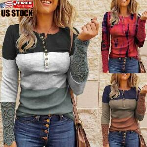 Women Casual Patchwork V Neck Basic Tops Ladies Long Sleeve Buttons Shirt Blouse $23.09