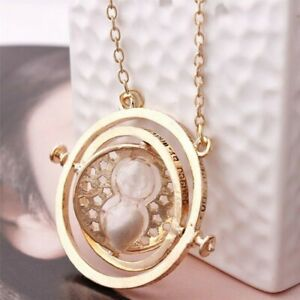 HOT Harry Potter Gold Time Turner Hermione Hourglass Necklace Granger Rotating $8.26
