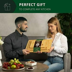 Bamboo Cutting Board Set with Juice Groove 3 Pieces Wood Cutting Boards for
