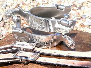 Cowboy Western Mens stainless spurs WITH Leather STRAPS