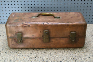 Solid Copper Fishing Tackle Box Handcrafted Folk Art 19x7x7 Vintage Free S H
