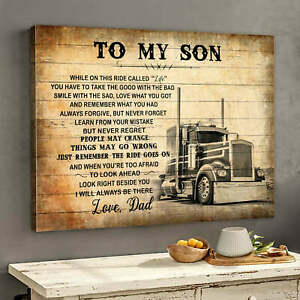 To My Son Love Dad Truck Driver Vintage Gift Canvas Poster No Frame $16.99