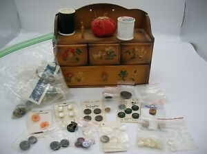 Vintage Wooden Sewing Storage Box with Pin Cushion amp; Spool Holders 4 Drawers $35.00