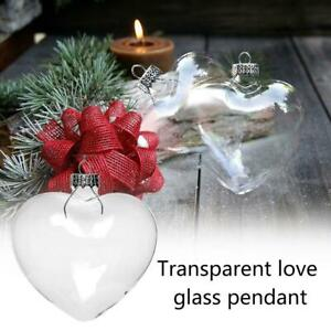 Glass Heart Shaped Baubles Fillable Transparent Wedding Christmas Ornaments DIY $4.89