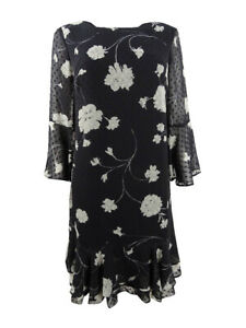 Jessica Howard Womens Floral Printed Bell Sleeve Shift Dress 8 Black $39.99