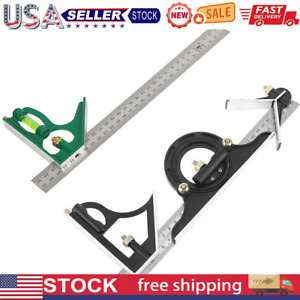 Square Angle Ruler Stainless Steel Woodworking Measuring Tools Protractor $14.88