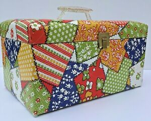 Vintage 1970s Sewing Case Box with Tray Hexagon Patchwork Cardboard 14quot;x8quot;x10quot; $52.00
