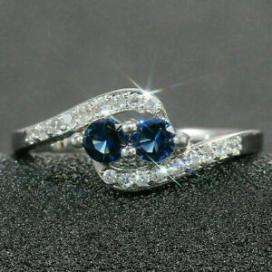 14K White Gold Gorgeous Swirl Engagement Wedding Two Stone Ring 1.90 Ct Sapphire $266.65