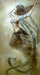 Large art Oil painting Dunhuang flying fairy the World Heritage canvas 24quot;x36quot; $120.95