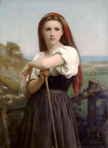 Large art Oil painting Bouguereau Portrait Young Shepherdess girl with sheep $75.59