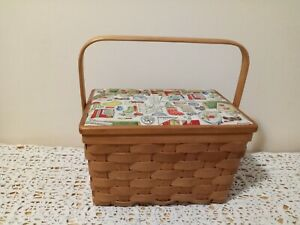 Vintage Sewing Basket Box Wicker Weave Lined W Handle Cushioned Top $13.99