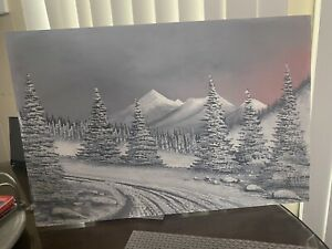 """Vintage Painting On Board Winter Scene Signed 16"""" X 24"""" $28.50"""