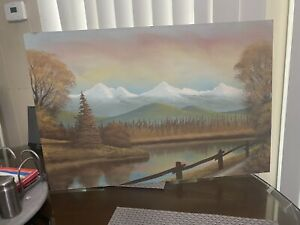 """Vintage Painting On Board Mountains Snow Trees River Signed 16"""" X 24"""" $28.50"""