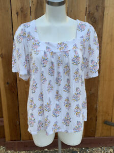 LUCKY BRAND Floral Knit Shirt Square Neck Peasant Top Sz XL