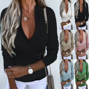 Women Autumn Solid Long Sleeve Slim Fit Base T Shirt Casual Loose Sexy Zip Tops