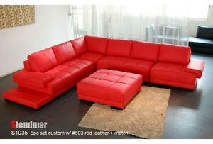 6PC MODERN DESIGNER LEATHER SECTIONAL SOFA S1035B