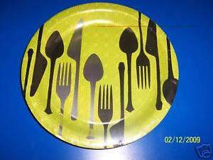 DesignWare Dinner Hour Cutlery Spoon Fork knife Party Green 9quot; Dinner Plates