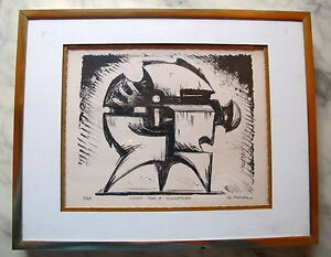 Fine Art Lithograph Abstract Sculptural Study Signed 3 20 George Koras Greek $250.00
