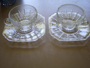 Columbia Cup and Saucer Set of 2 Federal Glass $12.99