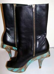 New CHANEL Paris-Shanghai 10A Lambskin Peeptoe Boots with TurquoiseGold Platfor