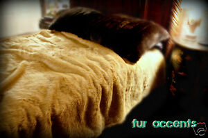 FUR ACCENTS Lion Fur Bedspread King Size Faux Fur  96'' x 110''