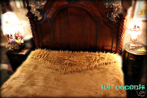 FUR ACCENTS Lion Bedspread Faux Fur King Size 96'' x 110''