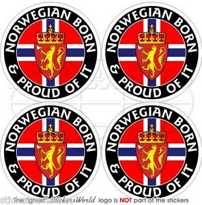 NORWAY Norwegian Born & Proud 50mm 2 Bumper Helmet Stickers, Decals x4