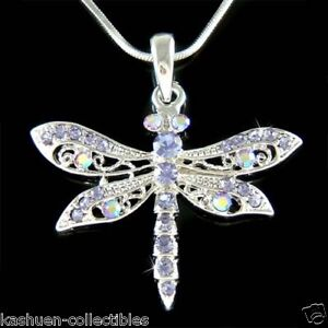 w Swarovski Crystal Bridal Purple Cut Out DRAGONFLY Pendant Charm Chain Necklace