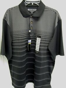 PEBBLE BEACH GOLF POLO BLACK SIZE L PERFORMANCE WICKING DRY FIT SHIRT NEW STRIPE $13.50