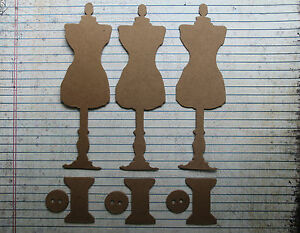 3 Bare chipboard Large Tim Holtz Dress Form and more Diecuts 1 34