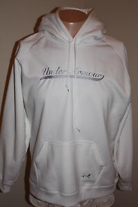UNDER ARMOUR UNI-SEX YOUTH XL HOODIE WHITE with GRAY LOGO
