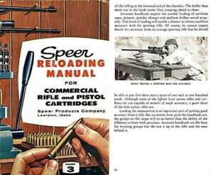 Speer 1959 Reloading Manual No. 3 for Commercial Cartridges