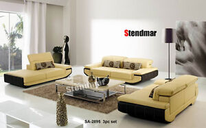 3PC NEW MODERN EURO DESIGN LEATHER SOFA SET SA2895