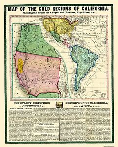 Map Of The Gold Regions California - 1849 - 23 x 28.56