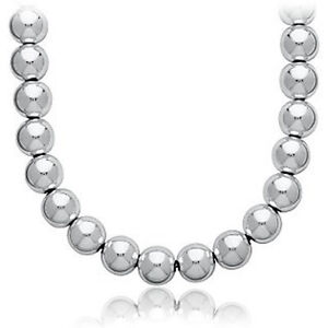 BEAD BALL NECKLACE HOTTEST TREND CELEBRITY.925 STERLING SILVER 16
