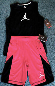 NWT Nike Jordan Boys L BlackRedWhite Dri-Fit Tank Top Shorts Set Large 14-16